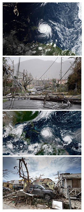 Satellite and aftermath damage images Hurricanes Maria, Irma, Jose and Katia, Sept 2017